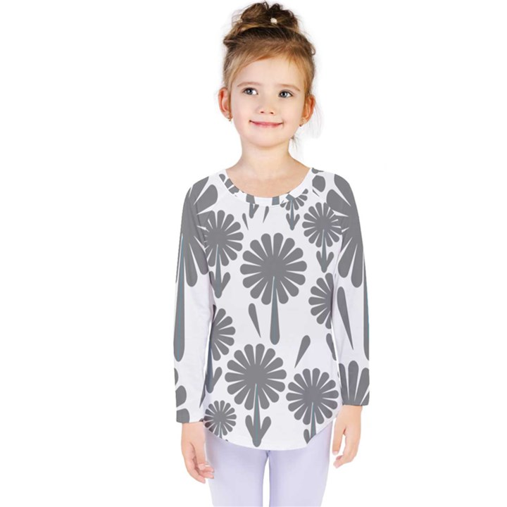 zappwaits flowers black Kids  Long Sleeve Tee