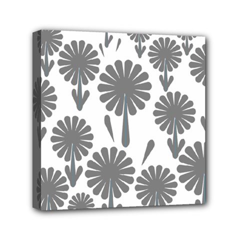 Zappwaits Flowers Black Mini Canvas 6  X 6  (stretched)