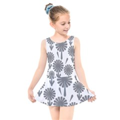 Zappwaits Flowers Black Kids  Skater Dress Swimsuit by zappwaits