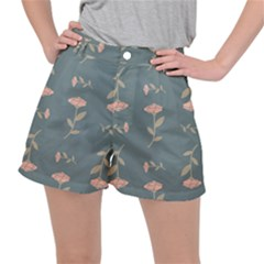 Florets In Grey Stretch Ripstop Shorts