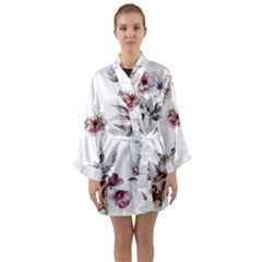 Purple Flowers Bring Cold Showers Long Sleeve Kimono Robe by WensdaiAddamns