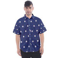 Navy Polka Dot Men s Short Sleeve Shirt