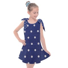 Navy Polka Dot Kids  Tie Up Tunic Dress by WensdaiAmbrose