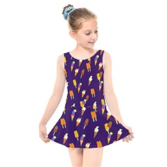 Seamless Ice Cream Kids  Skater Dress Swimsuit