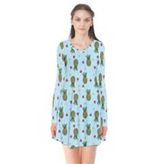 Pineapple Watermelon Fruit Lime Long Sleeve V Neck Flare Dress by Mariart