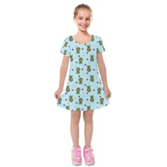 Pineapple Watermelon Fruit Lime Kids  Short Sleeve Velvet Dress