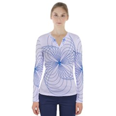 Spirograph Pattern Drawing V Neck Long Sleeve Top
