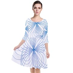 Spirograph Pattern Drawing Quarter Sleeve Waist Band Dress