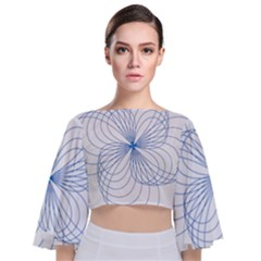 Spirograph Pattern Drawing Tie Back Butterfly Sleeve Chiffon Top