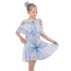 Spirograph Pattern Drawing Kids  Shoulder Cutout Chiffon Dress