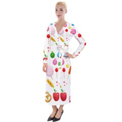 Summer Fair Food Goldfish Velvet Maxi Wrap Dress