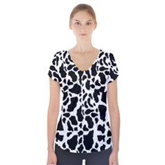 Black On White Cow Skin Short Sleeve Front Detail Top by LoolyElzayat