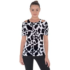 Black On White Cow Skin Shoulder Cut Out Short Sleeve Top by LoolyElzayat