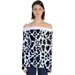 Black On White Cow Skin Off Shoulder Long Sleeve Top by LoolyElzayat
