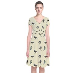 Bird Is The Word Short Sleeve Front Wrap Dress