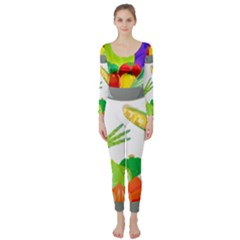 Vegetables Salad Broccoli Corn Long Sleeve Catsuit