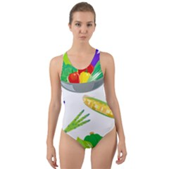 Vegetables Salad Broccoli Corn Cut Out Back One Piece Swimsuit