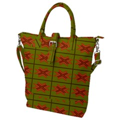 Western Pattern Backdrop Green Buckle Top Tote Bag