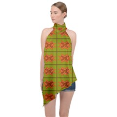 Western Pattern Backdrop Green Halter Asymmetric Satin Top by Jojostore