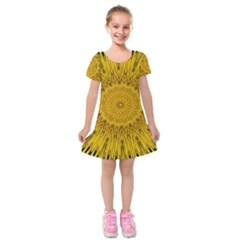 Pattern Petals Pipes Plants Kids  Short Sleeve Velvet Dress