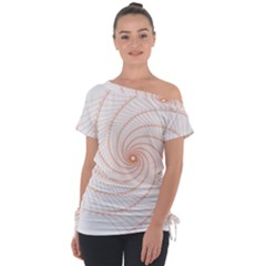 Spirograph Pattern Orange Tie Up Tee by Jojostore