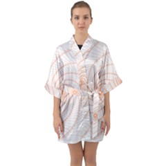 Spirograph Pattern Orange Quarter Sleeve Kimono Robe by Jojostore