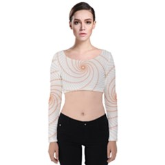 Spirograph Pattern Orange Velvet Long Sleeve Crop Top