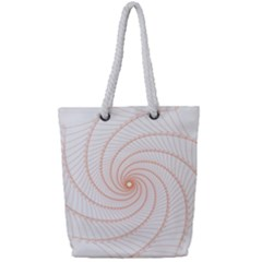 Spirograph Pattern Orange Full Print Rope Handle Tote (small)