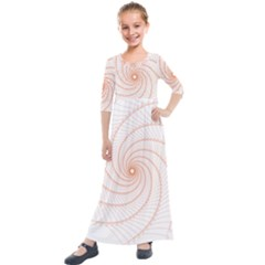 Spirograph Pattern Orange Kids  Quarter Sleeve Maxi Dress by Jojostore