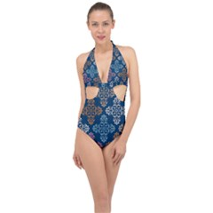 Wallpaper Abstract Art Halter Front Plunge Swimsuit
