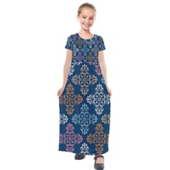 Wallpaper Abstract Art Kids  Short Sleeve Maxi Dress by Jojostore