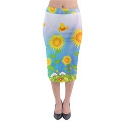 Sunflower Collage Summer Flowers Midi Pencil Skirt