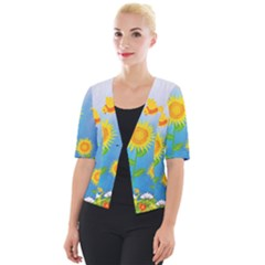Sunflower Collage Summer Flowers Cropped Button Cardigan