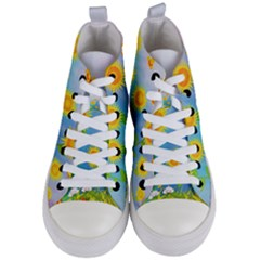 Sunflower Collage Summer Flowers Women s Mid Top Canvas Sneakers