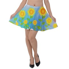 Sunflower Collage Summer Flowers Velvet Skater Skirt by Jojostore