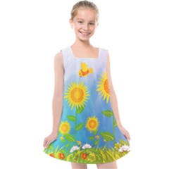 Sunflower Collage Summer Flowers Kids  Cross Back Dress