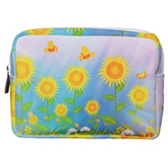 Sunflower Collage Summer Flowers Make Up Pouch (medium)