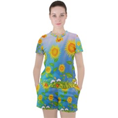 Sunflower Collage Summer Flowers Women s Tee And Shorts Set