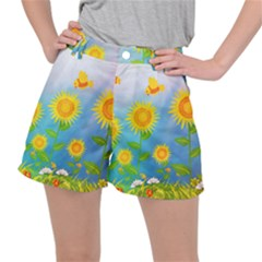 Sunflower Collage Summer Flowers Stretch Ripstop Shorts
