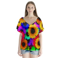 Sunflower Colorful V Neck Flutter Sleeve Top