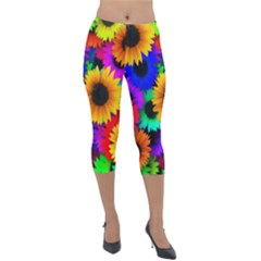Sunflower Colorful Lightweight Velour Capri Leggings  by Mariart