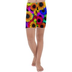 Sunflower Colorful Kids  Lightweight Velour Capri Yoga Leggings