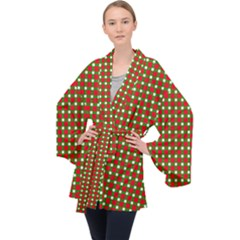 Lumberjack Plaid Buffalo Plaid Green Red Velvet Kimono Robe