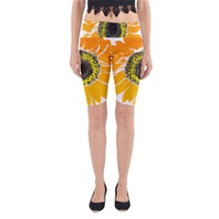 Sunflower Flower Yellow Orange Yoga Cropped Leggings