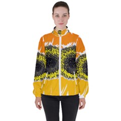 Sunflower Flower Yellow Orange High Neck Windbreaker (women)