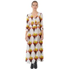 Turkey Thanksgiving Background Button Up Boho Maxi Dress by Mariart
