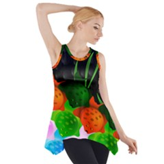 Pattern Fishes Escher Side Drop Tank Tunic