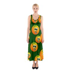 Seamless Orange Pattern Sleeveless Maxi Dress