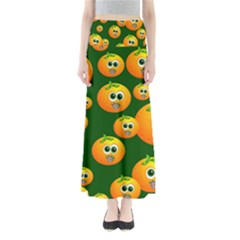 Seamless Orange Pattern Full Length Maxi Skirt