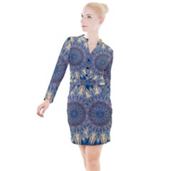 Kaleidoscope Mandala Button Long Sleeve Dress by AnjaniArt